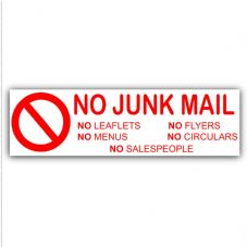 1 x No Junk Mail-RED-Letterbox Warning House Sticker-External Adhesive Vinyl Door Letters Notice Sign